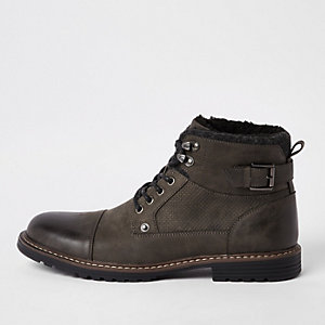 Grey fleece lined lace-up boots