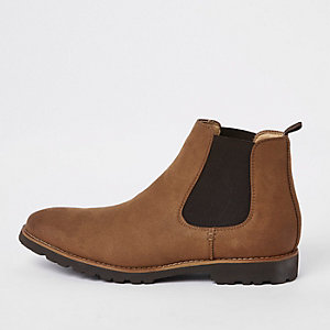 Brown faux suede chelsea boots