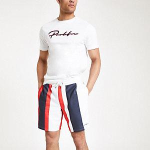"""Rote, gestreifte Slim Fit Shorts """"Prolific"""" aus Jersey"""