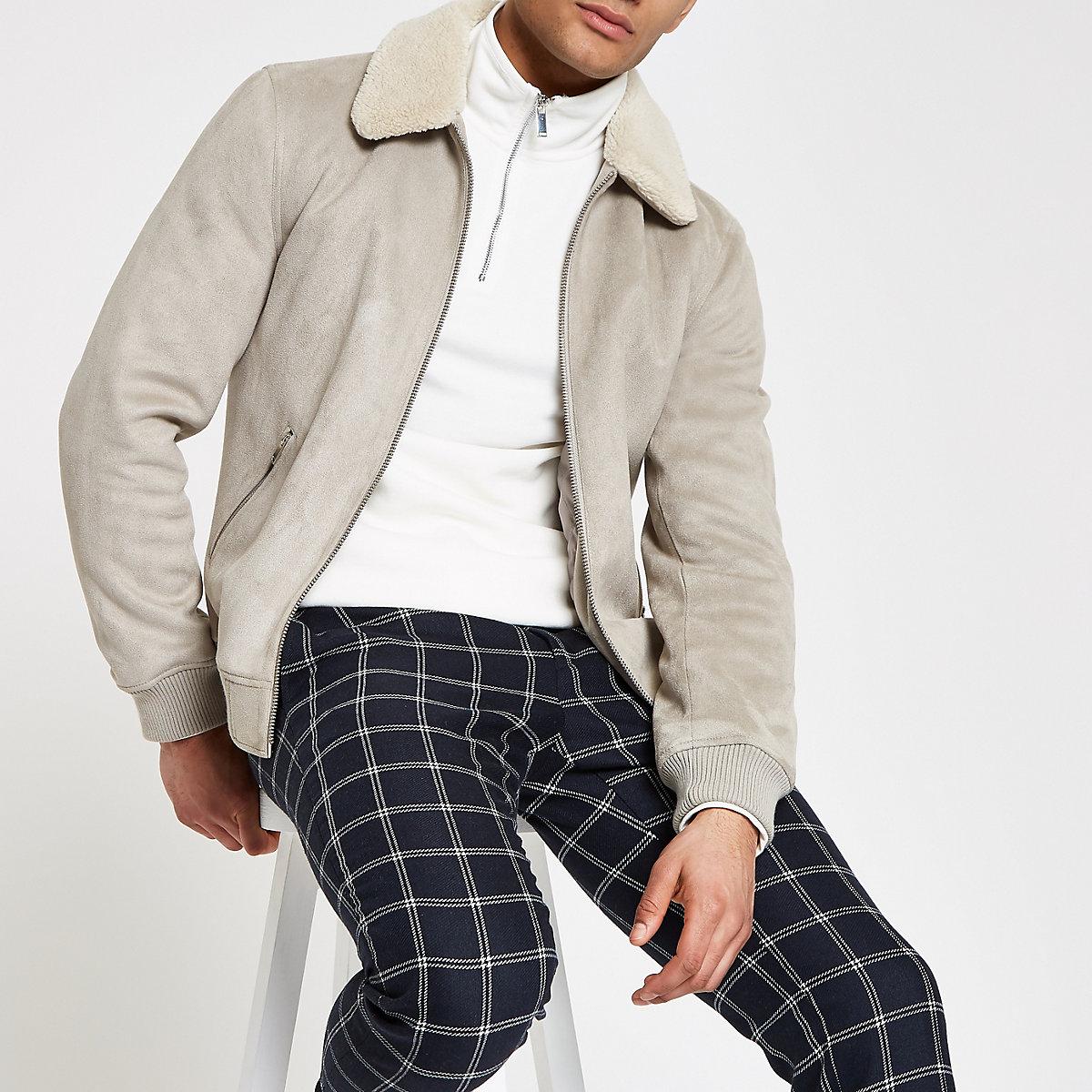 Grey faux suede fleece collar jacket