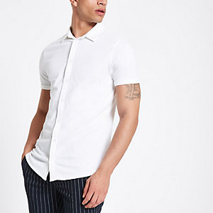 White muscle fit button down polo shirt