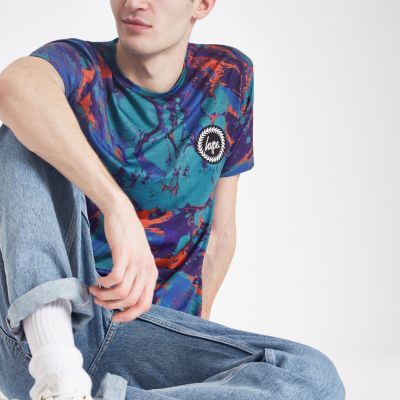 Hype Blue Marble Print T Shirt by River Island
