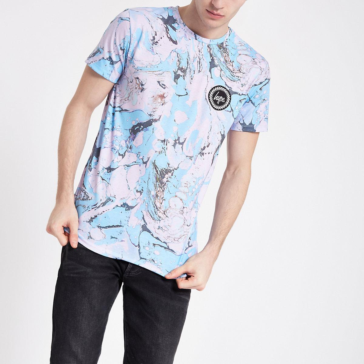 Hype light blue marble print T-shirt