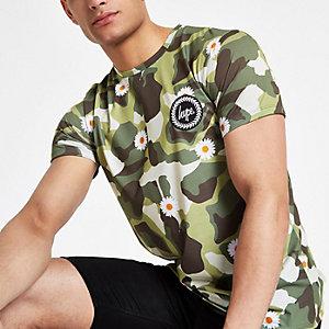 Hype – T-shirt imprimé marguerites camouflage vert