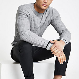 Grey chevron stitch muscle fit jumper