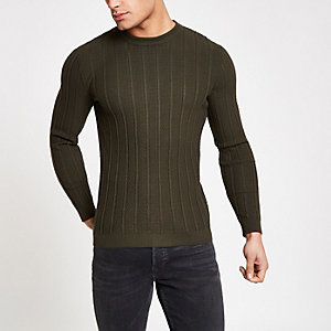 Khaki chevron stitch muscle fit sweater
