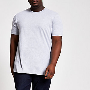 Big and Tall – T-shirt slim gris chiné