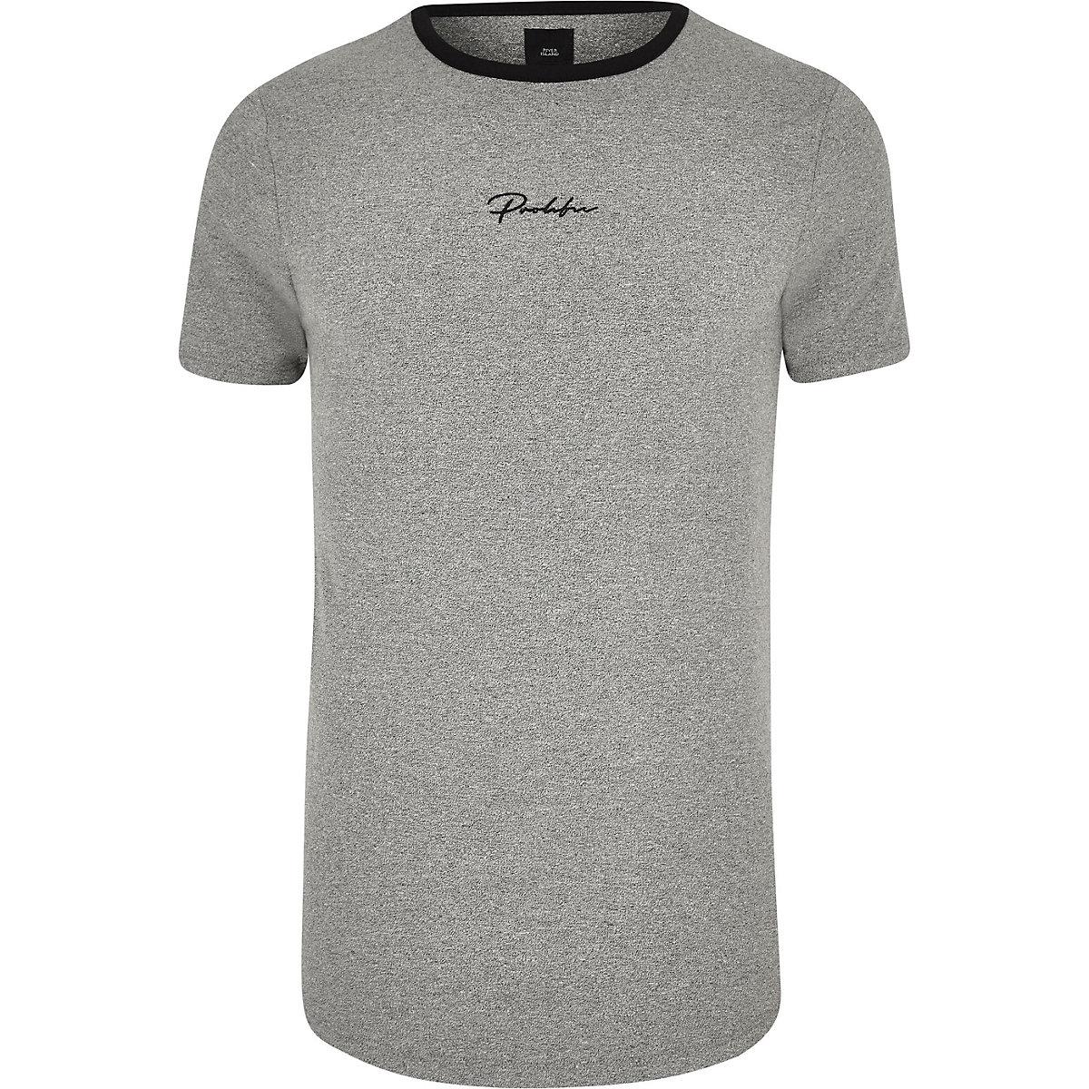 """Big & Tall – Graues T-Shirt """"Prolific"""" mit abgerundetem Saum"""