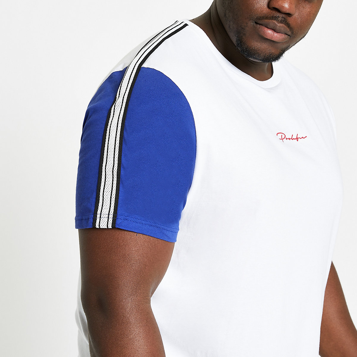 Big and Tall white prolific tape T-shirt