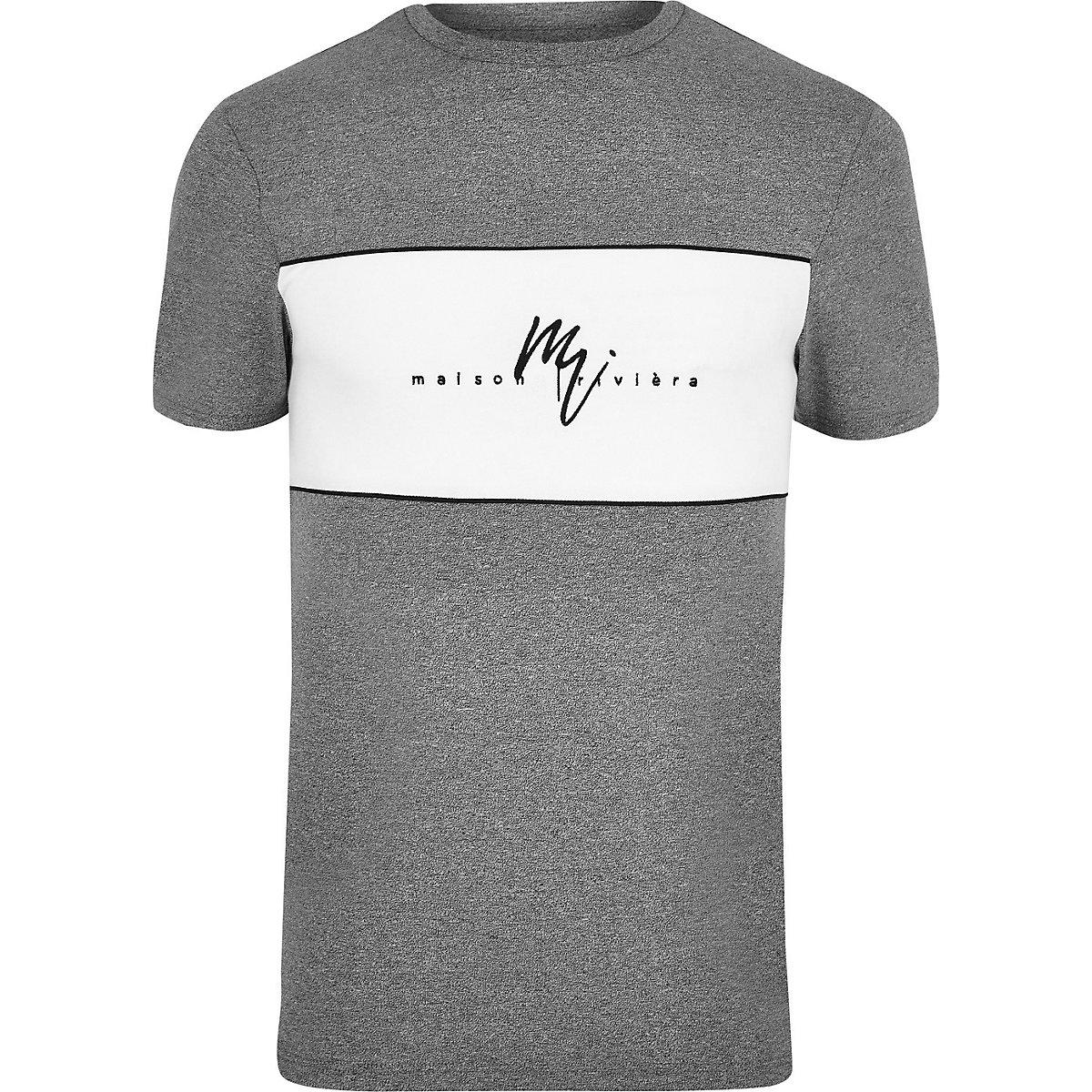 Big and Tall grey 'Maison Riviera' T-shirt