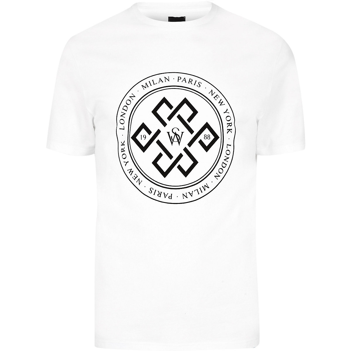 Big and Tall white slim fit flock T-shirt