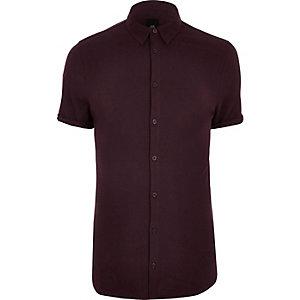 Big and Tall - Rood aansluitend overhemd van piqué-stof