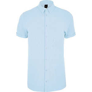 Big and Tall blue pique muscle fit shirt