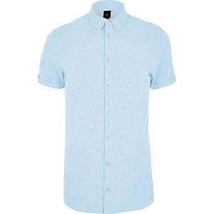 Big and Tall - Blauw aansluitend overhemd van piqué-stof