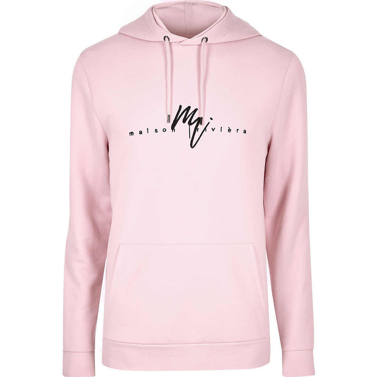 Big and Tall pink embroidered hoodie