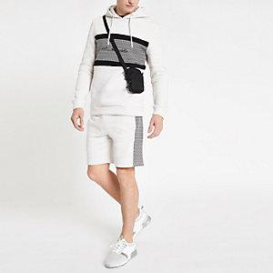 R96 - Kiezelkleurige slim-fit hoodie met RI-monogram