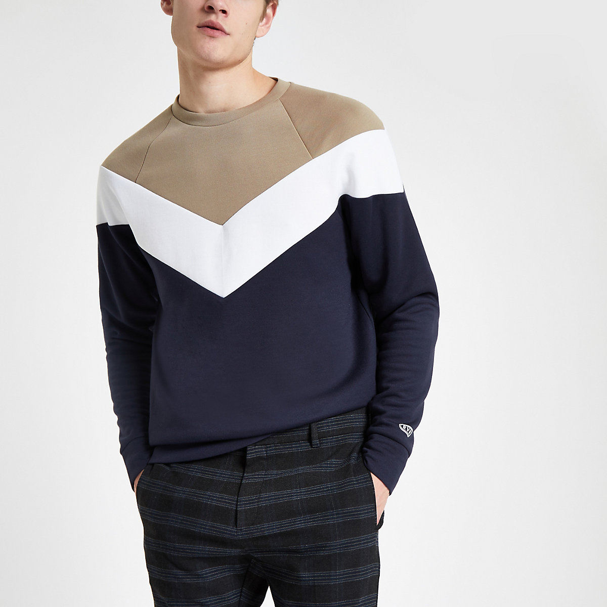 Stone colour block slim fit sweatshirt