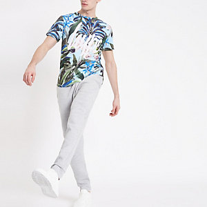 Hype blue tropical print curve hem T-shirt