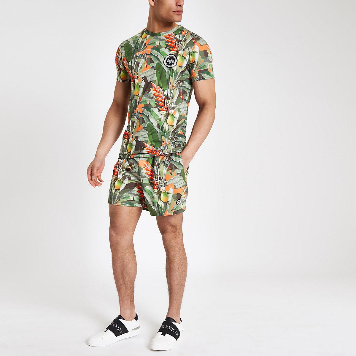 Hype green tropical print T-shirt