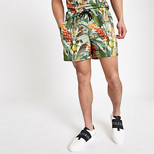 Hype green tropical print swim trunks