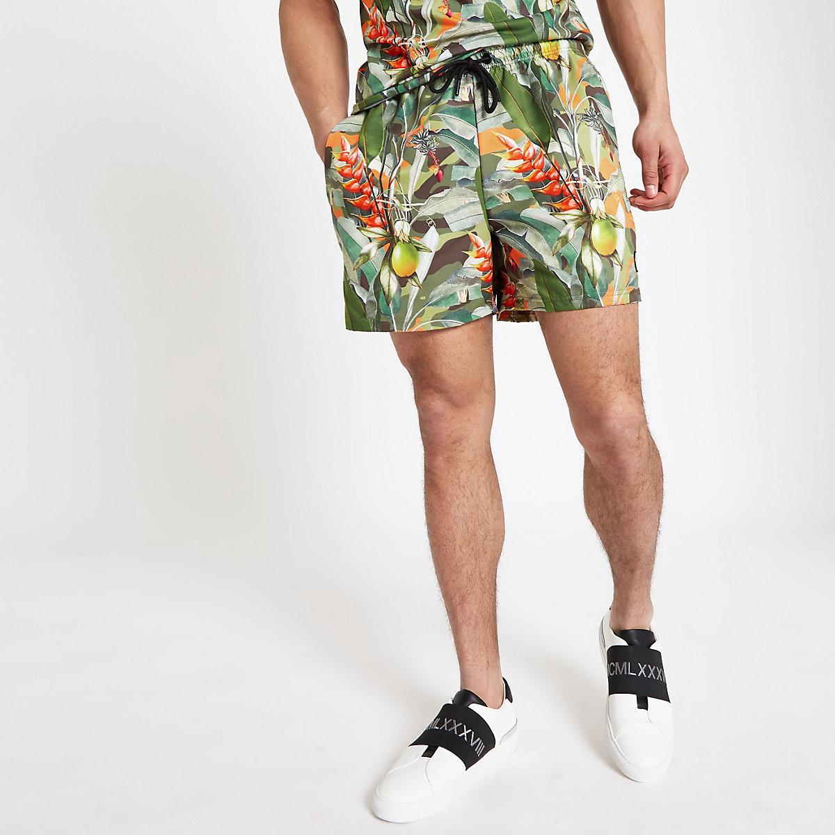 Hype green tropical print swim trunks