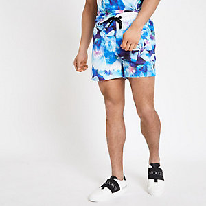 Hype blue floral print swim trunks