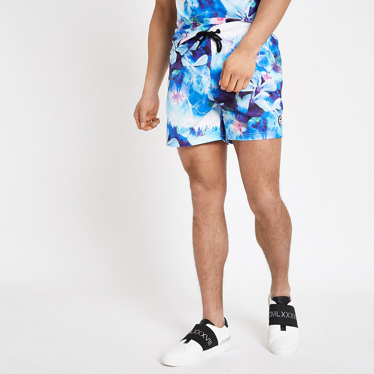 Hype blue floral print swim shorts