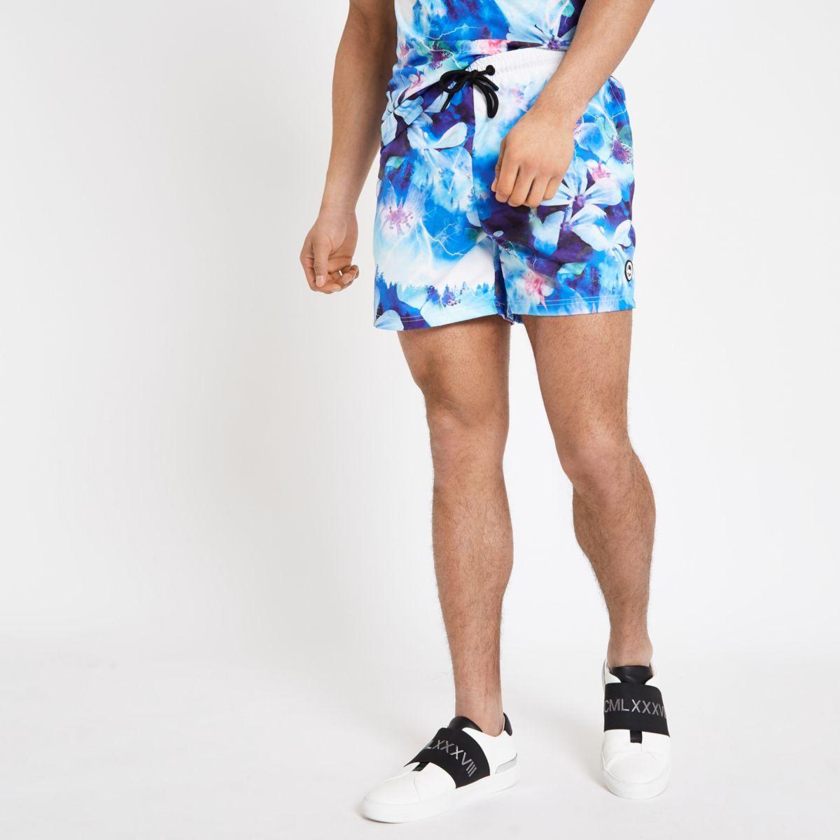 Hype blue floral print swim shorts