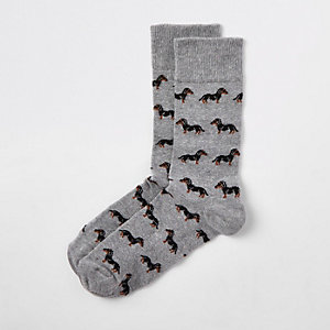 Graue Socken mit Dackel-Print