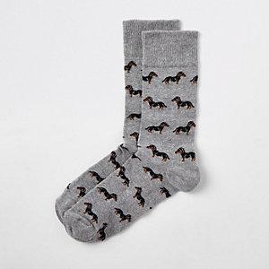 Grijze sokken met teckelprint