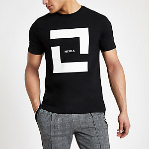Black mono 'Mcmlx' slim fit T-shirt