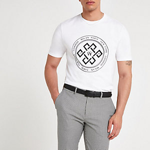 White circle flock slim fit T-shirt