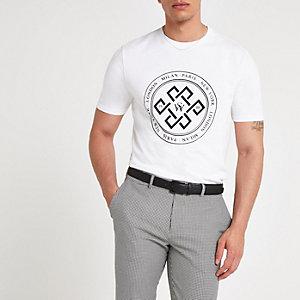 Wit slim-fit gevlokt T-shirt met cirkel