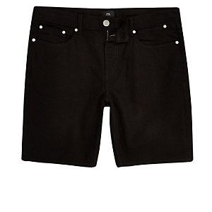 Big and Tall black slim fit denim shorts
