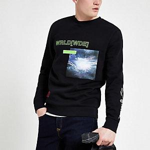 Zwart sweatshirt met 'World[wde]'-neonprint