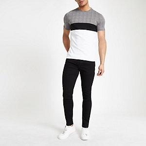 T-shirt ajusté à carreaux blanc