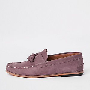 Pink suede tassel front loafers