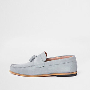 Blue suede tassel front loafers
