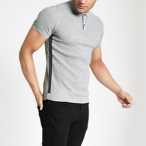 Grey cable muscle fit polo shirt