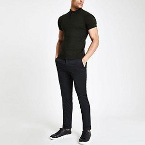 Dunkelgrünes Muscle Fit Poloshirt