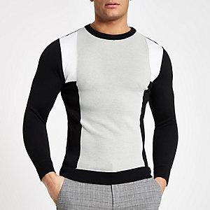 Grijze geblokte slim-fit trui met ronde hals