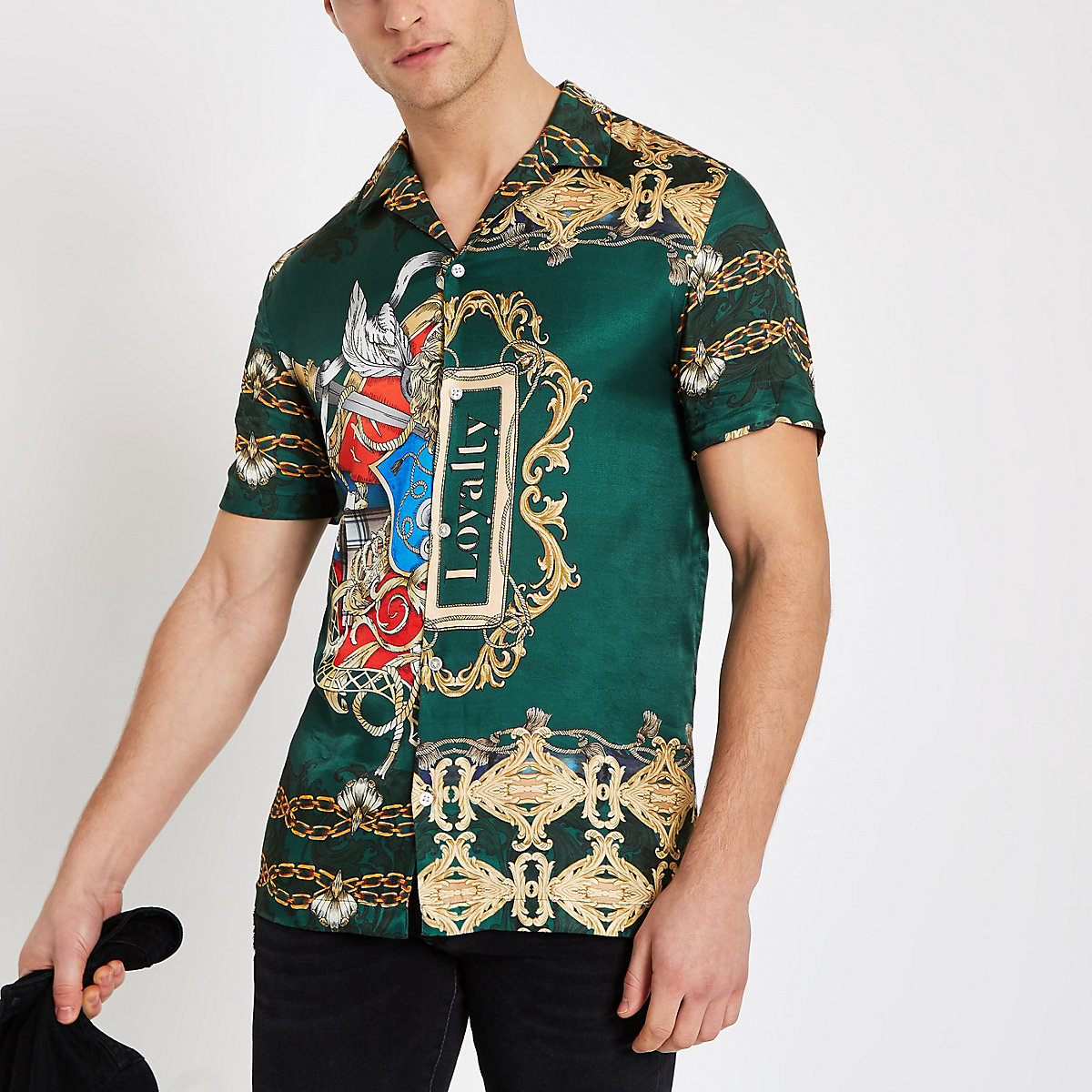 Green baroque print short sleeve shirt