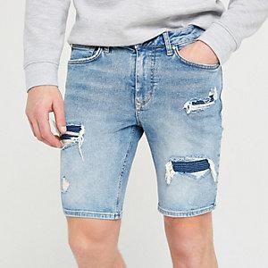Light blue skinny biker bust denim shorts