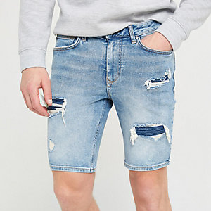 Light blue skinny biker bust denim shorts