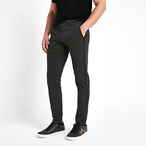 Karierte Skinny Fit Hose in Khaki