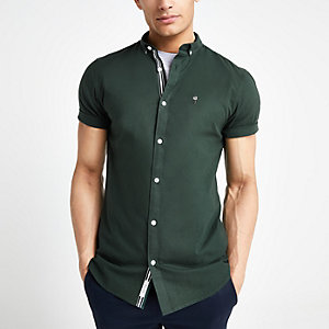 Donkergroen oxford overhemd met korte mouwen