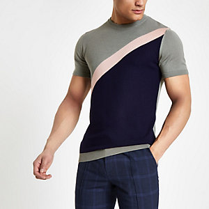 T-shirt slim colour block en diagonale gris