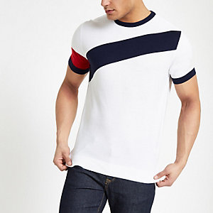 T-shirt slim colour block blanc avec bande diagonale