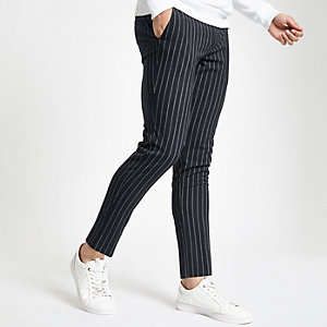 Navy stripe super skinny pants