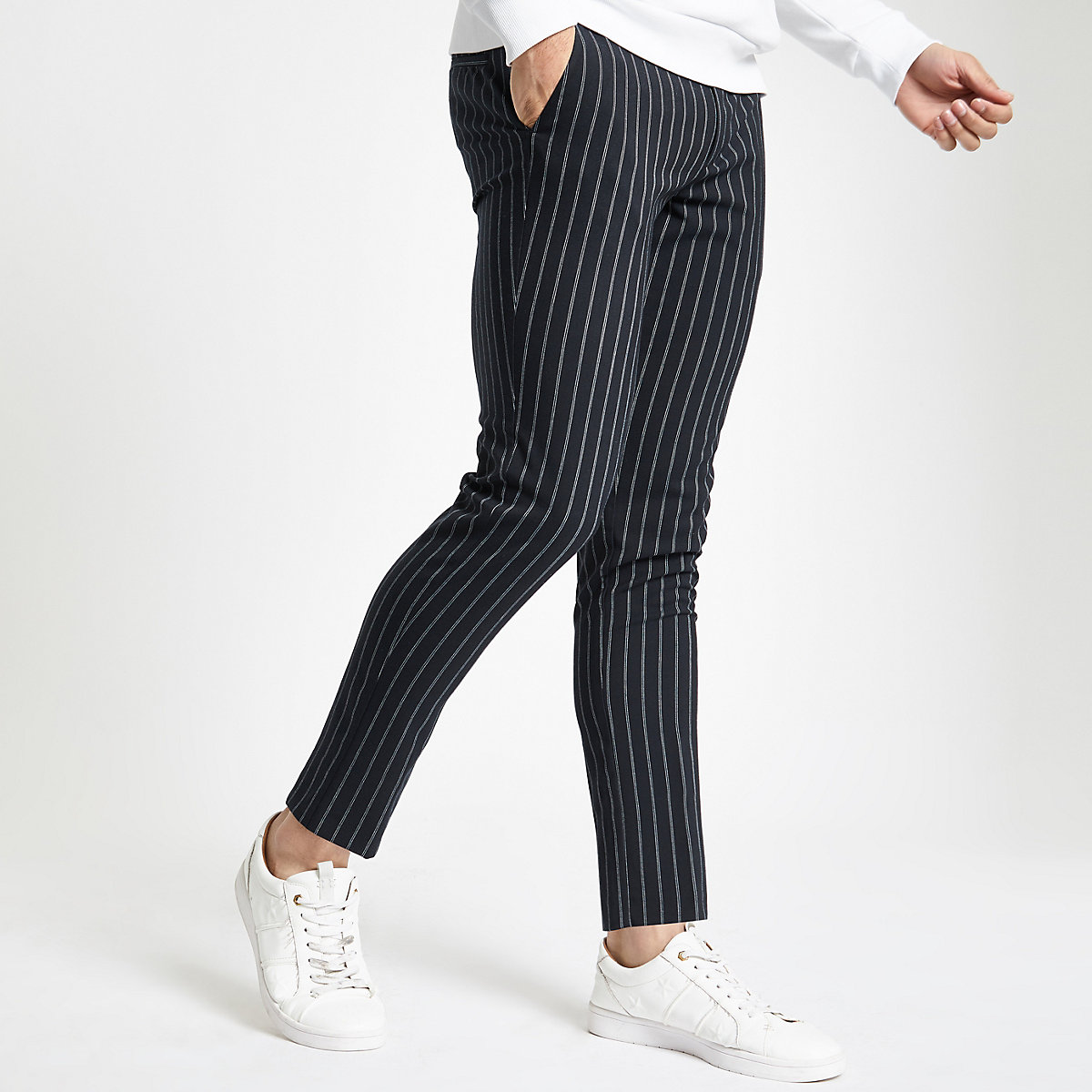 Navy stripe super skinny pants